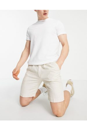 ASOS DESIGN Slim shorts with cross hatch in stone-Neutral