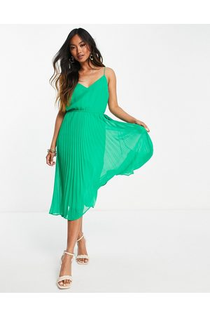 ASOS Pleated cami midi dress with drawstring waist in emerald green