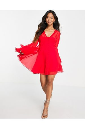 ASOS DESIGN Button through mini dress with godet detail in red