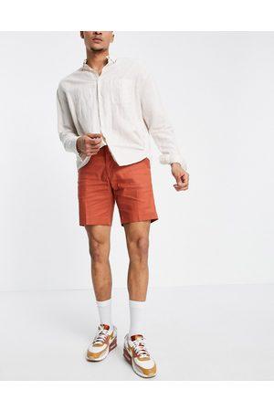 ASOS Slim smart shorts in rust linen-Brown