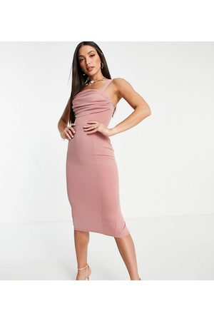 ASOS Tall ASOS DESIGN Tall pleated bust cami midi pencil dress in rose-Multi