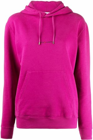 Saint Laurent Senhora Tops de Cavas - Logo-print drawstring hoodie
