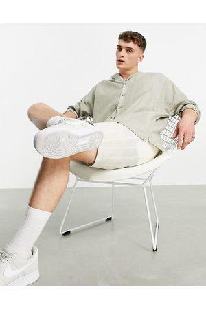 ASOS Homem Casual - Drop shoulder oversized linen shirt with revere collar in green