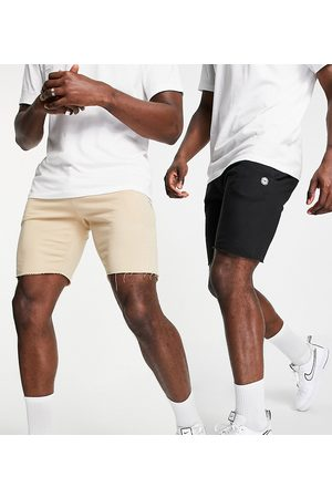 Le Breve Tall 2 pack raw edge jersey shorts in black & stone