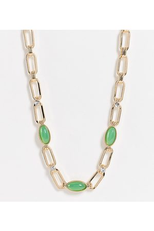 Reclaimed Inspired statement chain necklace with green agate stones in gold