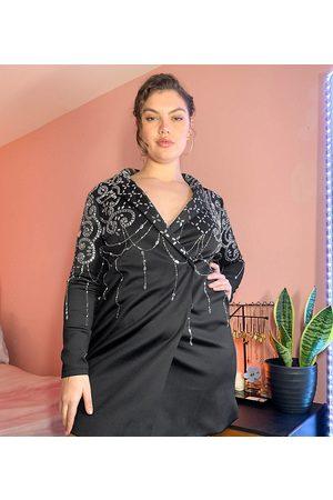 ASOS ASOS DESIGN Curve embellished blazer mini dress in black