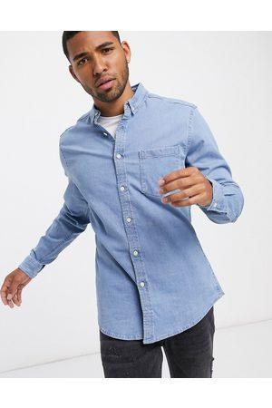 ASOS Stretch slim denim shirt in bleach wash-Blue