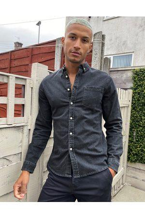 ASOS DESIGN Homem Ganga - Stretch slim denim shirt in washed black-Grey