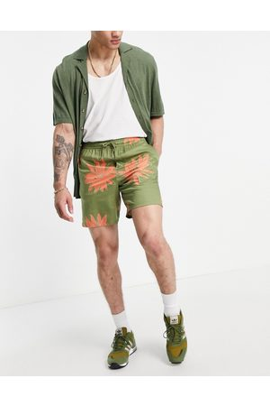 Only & Sons Co-ord drawstring shorts in green flower print
