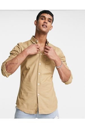 ASOS DESIGN Skinny fit oxford shirt in stone-Neutral
