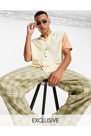 Reclaimed Homem Casual - Inspired relaxed shirt with revere collar in colour block-Multi