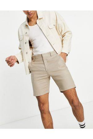 ASOS Homem Calções - Skinny smart shorts in stone linen-Neutral