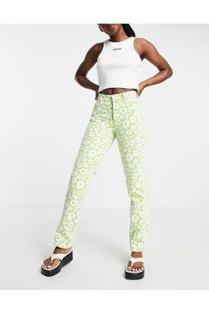 ASOS Mid rise '90's' straight leg daisy print jean in green-Multi