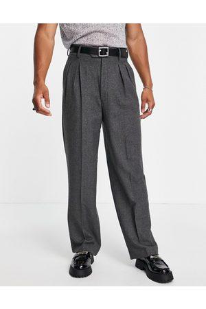 ASOS DESIGN High waist wide leg suit trouser in charcoal herringbone-Grey