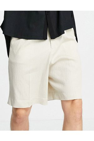 ASOS Wide leg smart shorts in stone crinkle cotton-Neutral