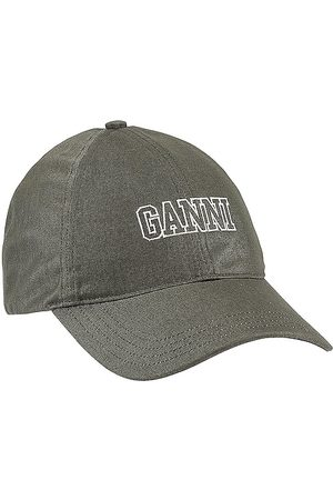 Ganni Cotton Baseball Cap in - Olive. Size all.