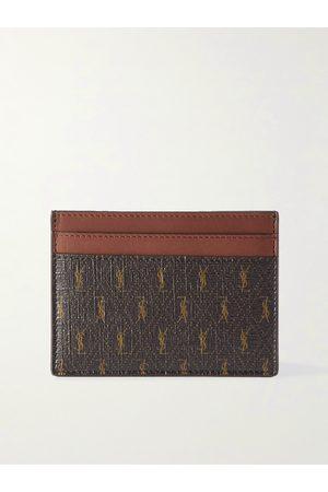 SAINT LAURENT Leather-Trimmed Monogrammed Canvas Cardholder