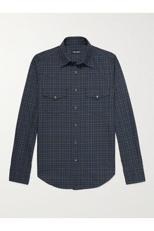 TOM FORD Homem Casual - Slim-Fit Checked Cotton Western Shirt