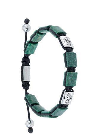 Nialaya Jewelry Homem Pulseiras - Dorje Flatbead beaded bracelet