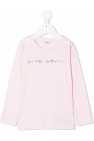 Chiara Ferragni Menina T-shirts & Manga Curta - Rhinestone-logo cotton T-shirt