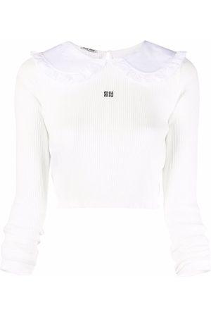 Miu Miu Cropped ruffle-collar top