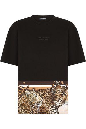 Dolce & Gabbana Homem T-shirts & Manga Curta - Leopard-hem logo T-shirt