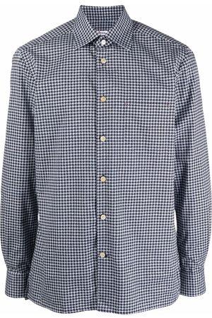 Kiton Cotton houndstooth-pattern shirt