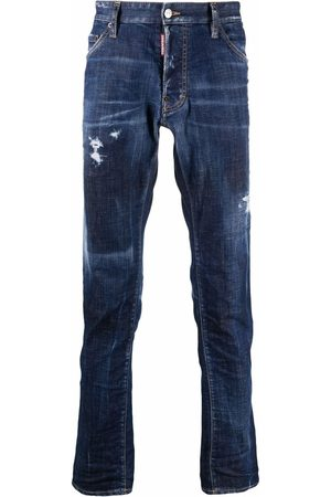 Dsquared2 Ripped-detail straight-leg jeans