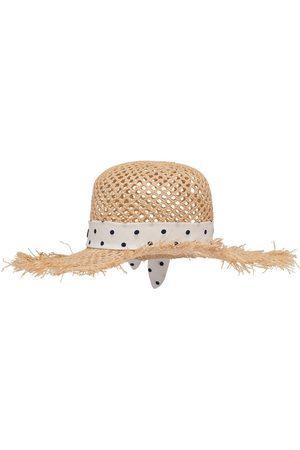 Miu Miu Senhora Chapéus - Polka-dot print raffia hat