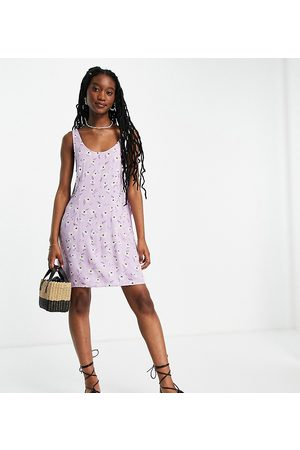 Pieces Exclusive mini shift dress in lilac ditsy floral-Multi