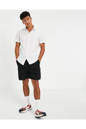 Selected Homme Linen shirt with short sleeves in white