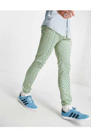 ASOS DESIGN Co-ord skinny smart jogger with pastel geo print-Blue
