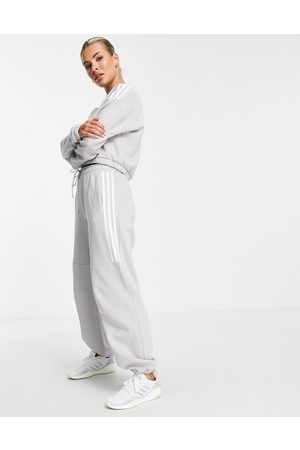 adidas performance Adidas Training oversized joggers with three stripes in grey