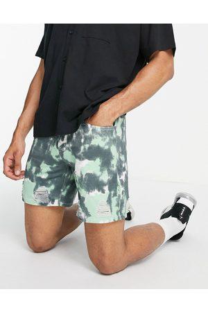 Liquor N Poker Homem Calções - 90s acid wash denim shorts co-ord in green