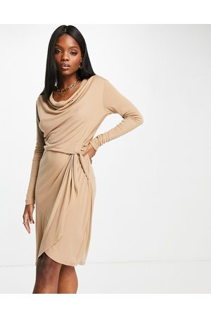 Ted Baker Neyda wrap dress in camel-Brown