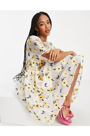 sister jane Lady Love smock dress in organza with embroidered flowers in yellow