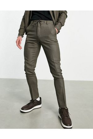 ASOS Homem Joggers - Smart skinny jogger co-ord with micro check in brown
