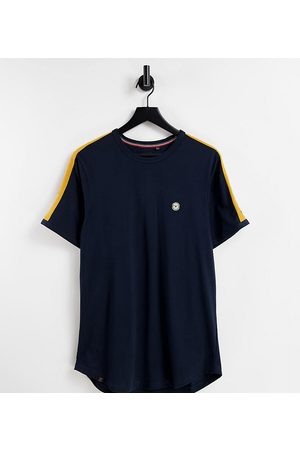 Le Breve Tall lounge co-ord t-shirt in navy with yellow tape