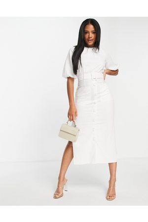 ASOS DESIGN Linen puff sleeve button through belted midi dress in white