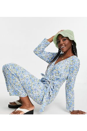 Y.A.S Tall Organic cotton wrap floral jumpsuit in blue