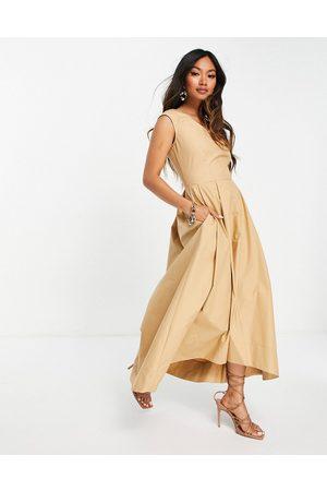 closet london Senhora Vestidos Casual - High low midi dress in camel-Brown