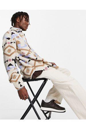 ASOS DESIGN 90s oversized aztec print shirt in borg-White