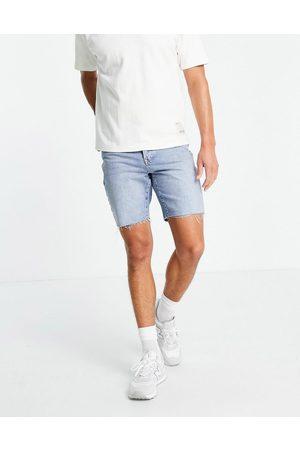 Topman Homem Calções - Slim denim shorts in mid wash-Blue