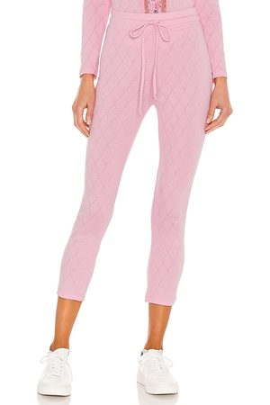 LOVESHACKFANCY Laine Slim Pant in - Pink. Size L (also in S, XS, M).