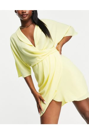 ASOS Drapey linen mini wrap dress in yellow