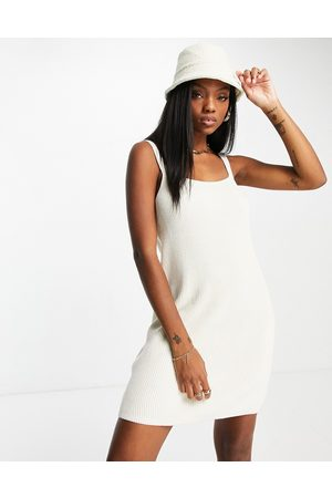& OTHER STORIES Knitted cami mini dress in off white