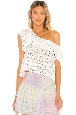 LOVESHACKFANCY Cruise Top in - White. Size L (also in M, S, XS).