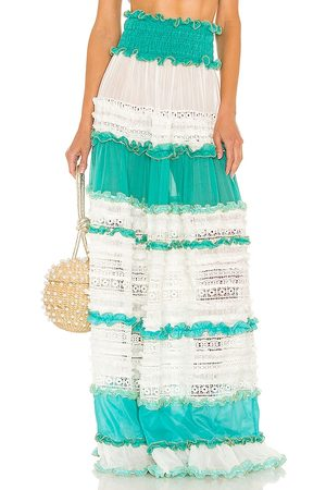 CHIO Senhora Saias Compridas - Tier Lace Maxi Skirt in - Baby Blue. Size L (also in M, S, XS).
