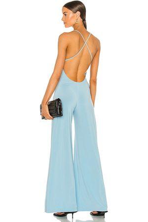 Norma Kamali Senhora Slips & Saiotes - X REVOLVE Low Back Slip Jumpsuit in - Blue. Size L (also in S, M).