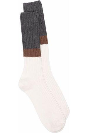 ELEVENTY Homem Meias - Colour-block ribbed socks